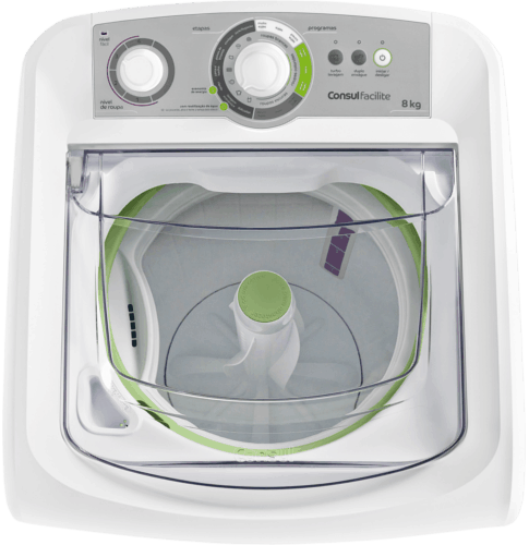 8ec52728a ... Máquina de lavar 8kg  Facilite branca Consul - Lavadora de Roupas 8kg  visão de cima ...